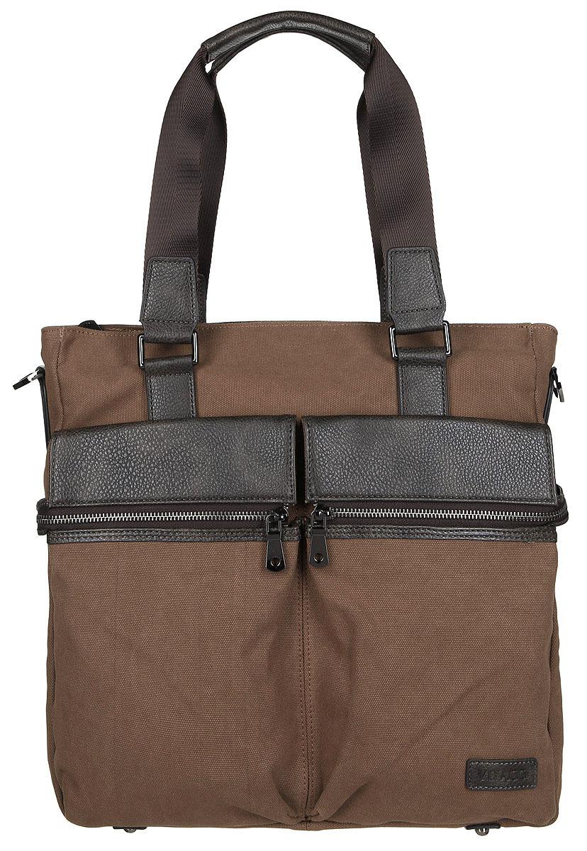 Сумка мужская Vitacci, цвет: коричневый. MW07373298с-1Стильная мужская сумка Vitacci идеально подойдет под ваш образ. Она выполнена из качественного текстиля и комбинирована вставками из искусственной кожи. Изделие оформлено в оригинальном дизайне. На лицевой стороне расположено два открытых кармана и два кармана на молнии. На тыльной стороне сумки расположен вшитый карман на молнии. Внутри расположено вместительное отделение, которое включает в себя один вшитый карман на молнии, два открытых кармана для мелочей и карман с утолщенной стенкой, который закрывается хлястиком на кнопку. Сумка оснащена удобным плечевым ремнем, длина которого регулируется с помощью пряжки. Такая модная и удобная сумка станет незаменимым аксессуаром в вашем гардеробе.