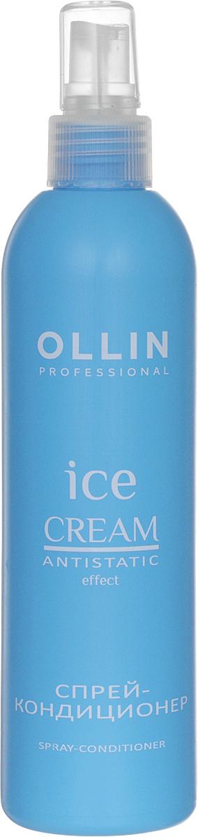 Ollin Спрей-кондиционер Ice Cream Spray Conditioner 250 мл724235Ollin Ice Cream Spray Conditioner Спрей-кондиционер уникальное косметическое средство по уходу за волосами. Это самое простое, по способу нанесения, вещество, которое к тому же, обладает большим положительным набором качеств. При длительных нагрузках спрей-кондиционер, богатый своей протеиновой основой, легко справляется с нехваткой питательных элементов в зимний период. Помимо питательных молекул, в составе препарата присутствуют фосфолипиды из шафрана и дополнительный растительный комплекс. Спрей легко подправит структуру волос, и надолго выровняет их кутикулу. Использование на постоянной основе такого замечательного спрея, позволит окружающим увидеть вас гладкой, изящной и обворожительной.