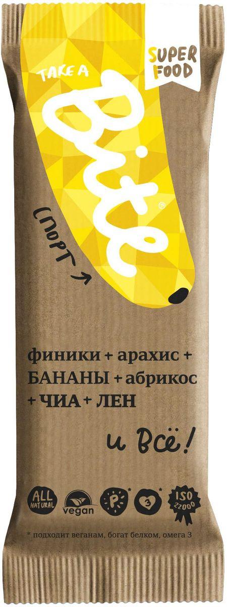 Take A Bite Спорт батончик орехово-фруктовый, 45 г4650062590054Немного фиников, бананов и много арахиса. Получите протеиновый заряд и будьте в игре!