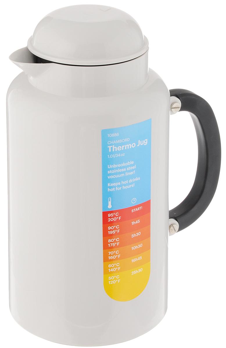 Термокувшин Bodum Chambord, цвет: белый, 1 лVT-1520(SR)Термокувшин Bodum Chambord сохраняет определенную температуру напитков на протяжении длительного времени. Внутренние стенки термокувшина изготовлены из двух слоев высококачественной нержавеющей стали. В промежутке между ними создан вакуум - это помогает сохранять температуру внутри. Внешний корпус изготовлен из прочного пластика. Термокувшин надежно закрывается завинчивающейся крышкой.Термокувшин Bodum Chambord займет достойное место на вашей кухне, а благодаря яркому и оригинальному дизайну станет украшением кухонного интерьера.Высота термокувшина (с учетом крышки): 23,5 см. Диаметр основания термокувшина: 12,5 см. Диаметр (по верхнему краю): 8,5 см. Диаметр горлышка: 4,5 см.