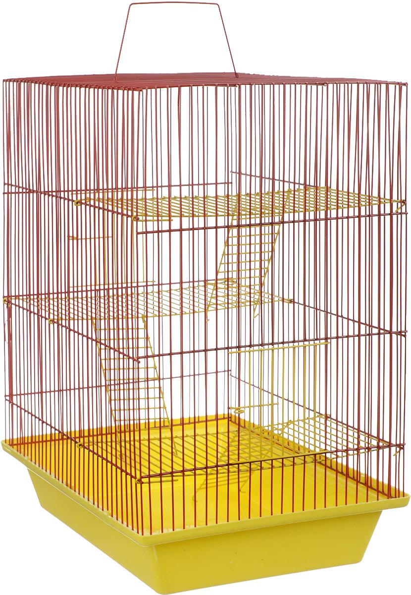 Клетка для грызунов ЗооМарк Гризли, 4-этажная, цвет: желтый поддон, красная решетка, желтые этажи, 41 х 30 х 50 см. 240ж240ж_желтый, красныйКлетка ЗооМарк Гризли, выполненная из полипропилена и металла, подходит для мелких грызунов. Изделие четырехэтажное. Клетка имеет яркий поддон, удобна в использовании и легко чистится. Сверху имеется ручка для переноски. Такая клетка станет уединенным личным пространством и уютным домиком для маленького грызуна.