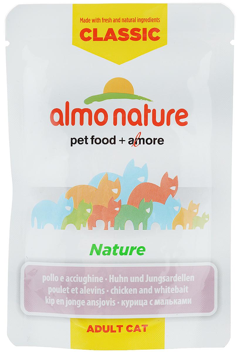 Консервы для кошек Almo Nature Classic, с курицей и мальками, 55 г20054Almo Nature Classic - высококачественный консервированный корм, приготовленный по уникальной рецептуре. Корм содержит высококачественное мясо и рыбу, приготовленные в собственном бульоне. Бережная обработка продуктов без добавления химических или каких-либо других ингредиентов позволяет сохранить питательную ценность и первоначальный вкус. Особенности: - входящие в состав мясные ингредиенты соответствуют стандарту Human Grade (качество как для людей); - превосходный аромат и восхитительный вкус; - высокая питательная ценность; - является натуральным источником воды и питательных веществ; - корм не содержит субпродукты, ГМО, антибиотиков, химических добавок, консервантов и красителей. Товар сертифицирован.