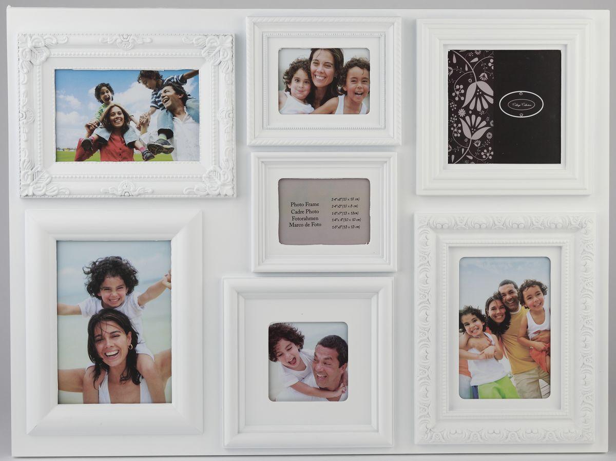 Фоторамка Image Art, на 7 фото. PL37-7Image Art PL37-7Фоторамка Image Art отлично дополнит интерьер помещения и поможет сохранить на память ваши любимые фотографии. Фоторамка выполнена из пластика и представляет собой коллаж из 7 рамочек с вертикальным и горизонтальным расположением фотографий. Изделие подвешивается к стене. Такая рамка позволит сохранить на память изображения дорогих вам людей и интересных событий вашей жизни, а также станет приятным подарком для каждого. Размер фотографий: 10 х 15 см, 13 х 18 см, 13 х 13 см, 10 х 10 см, 10 х 8 см.