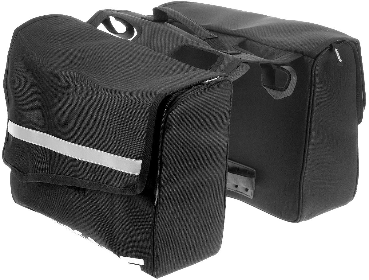 Сумка на задний багажник велосипеда BiKase City Pannier, двойнаяCRL-3BLДвойная сумка для багажника велосипеда BiKase City Pannier выполнена из высококачественного нейлона с жесткими стенками. Каждая сумка закрывается на двухстороннюю застежку-молнию и липучку, внутри имеются одно главное отделение, карман на молнии и карман на резинке. Изделие крепится при помощи ремней на липучках.Сумка снабжена ручкой для переноски, с помощью которой вы с легкостью сможете снимать ее с багажника. Также имеются светоотражающие вставки. Симметричная конструкция позволяет равномерно распределить нагрузку между двумя сумками. Такая сумка поможет с комфортом транспортировать различные вещи на стандартном багажнике велосипеда.Общий размер двойной сумки: 33 х 41 х 27 см. Размер одной сумки: 33 х 13 х 27 см.