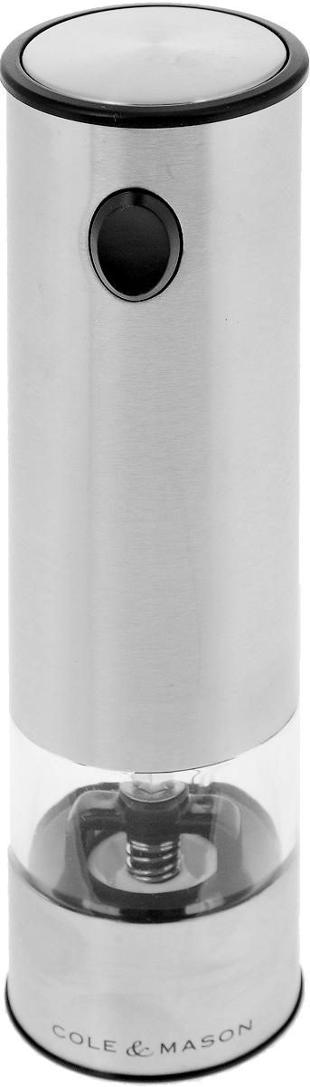 Мельница для перца и соли Cole & Mason Battersea, электрическая23525Электрическая мельница Cole & Mason Battersea предназначена для измельчения всех видов перца, крупных кристаллов соли и других специй. Изделие выполнено из матовой нержавеющей стали. Емкость для специй изготовлена из прочного прозрачного пластика. Для включения прибора необходимо держать нажатой верхнюю кнопку, для отключения - отпустить кнопку. Изделие снабжено подсветкой. Такая мельница не только поможет вам с приготовлением пищи, но и стильно украсит любую кухню, а также станет полезным подарком. Нельзя мыть. Необходимо докупить 6 батареек типа ААА (в комплект не входят).