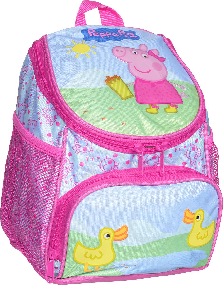 Peppa Pig Рюкзак дошкольный Пеппа и уточка72523WDМилый дошкольный рюкзачок от Peppa Pig Пеппа и уточка - обязательно понравится каждой юной любительнице этого популярного мультфильма. Рюкзак выполнен из прочного полиэстера и водонепроницаемой ткани, украшен привлекательным принтом с изображением свинки Пеппы и уточки. Рюкзак имеет одно внутреннее отделение на молнии, регулируемые лямки, специальную ручку для размещения на вешалке, лицевой карман на молнии и два сетчатых боковых кармашка на резинке.Таким образом, рюкзак будет с вашей малышкой на протяжении многих лет. Порадуйте свою малышку таким замечательным подарком!
