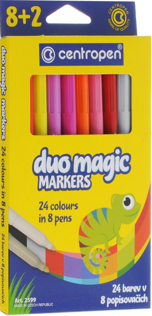 Centropen Набор перекрашивающих фломастеров Duo Magic 8 штFS-00897Набор перекрашивающих фломастеров Centropen Duo Magic наполнен магическими чернилами, которые изменяют цвет после перекрашивания поглотителем чернил.Таким образом, из одного набора (8 фломастеров и 2 поглотителя чернил) вы получите 24 цвета. Расцветка корпуса фломастеров соответствует цвету находящихся в них чернил, а колпачки маркеров имеют цвет, который получится в результате перекрашивания.