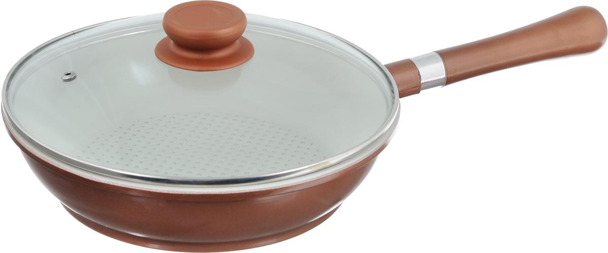 Сковорода Calve с крышкой, с антипригарным покрытием, со съемной ручкой. Диаметр 24 см. CL-193394672Сковорода Calve изготовлена из высококачественного алюминия. Внутреннее керамическое покрытие предотвращает пригорание и обеспечивает быстрое и качественное приготовление пищи. При нагревании не выделяется вредной примеси PFOA, сковорода экологична и абсолютно безопасна для приготовления пищи. Утолщенное дно обеспечивает быстрый нагрев и равномерное распределение тепла по всей поверхности. Съемная бакелитовая ручка удобна в использовании и позволяет компактно хранить сковороду. Жаропрочная стеклянная крышка плотно прилегает к краям посуды, имеет отверстие для выхода пара и металлический обод.Можно использовать на всех типах плит, исключая индукционные. Подходит для мытья в посудомоечной машине. Диаметр (по верхнему краю): 24 см. Высота стенки: 6 см. Длина ручки: 19 см.
