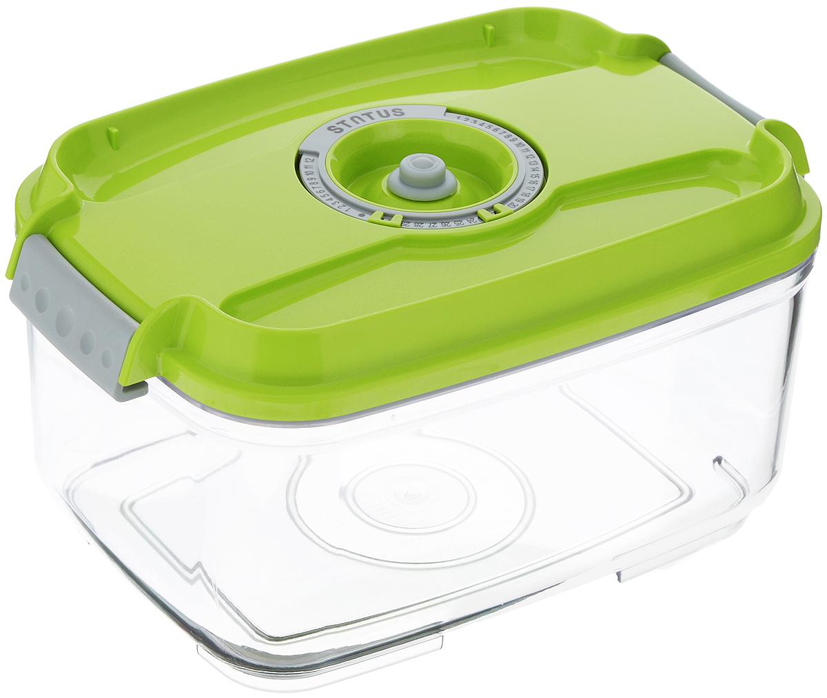 Контейнер вакуумный Status, с индикатором даты срока хранения, прозрачный, зеленый, 2 лVAC-REC-20 GreenВакуумный контейнер Status выполнен из хрустально-прозрачного прочного тритана. Благодаря вакууму, продукты не подвергаются внешнему воздействию, и срок хранения значительно увеличивается, сохраняют свои вкусовые качества и аромат, а запахи в холодильнике не перемешиваются. Допускается замораживание до -21°C, мойка контейнера в посудомоечной машине, разогрев в СВЧ (без крышки). Рекомендовано хранение следующих продуктов: макаронные изделия, крупа, мука, кофе в зёрнах, сухофрукты, супы, соусы. Контейнер имеет индикатор даты, который позволяет отмечать дату конца срока годности продуктов. Размер контейнера (с учетом крышки): 22,5 х 15,5 х 11,5 см.