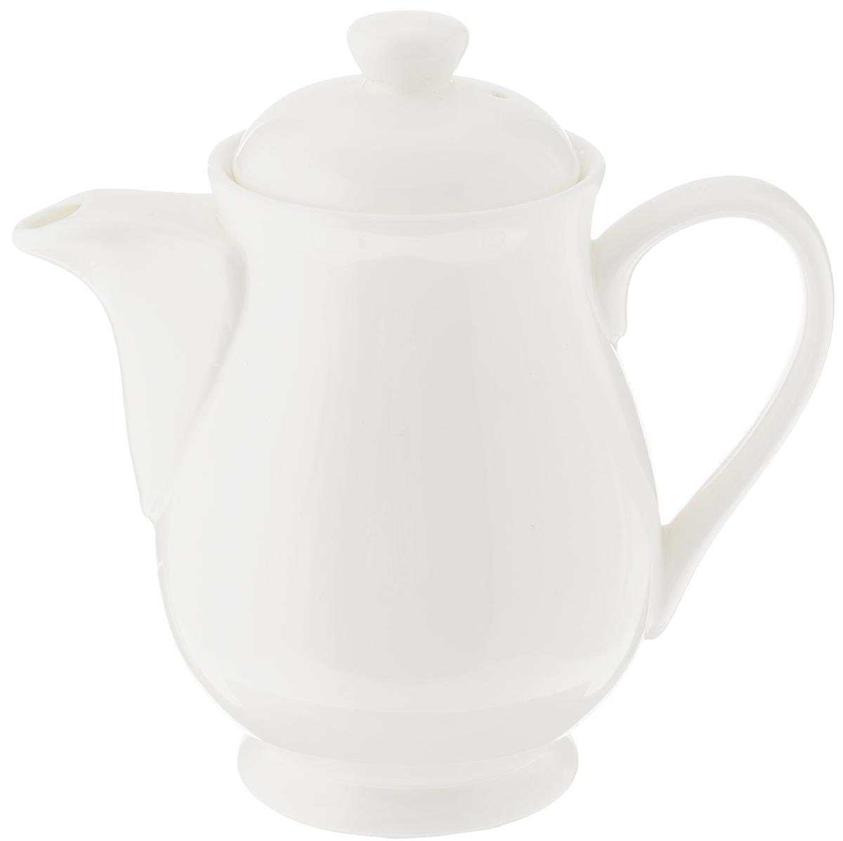 Чайник заварочный Wilmax, 450 млWL-994027 / 1CЗаварочный чайник Wilmax изготовлен из высококачественного фарфора. Глазурованное покрытие обеспечивает легкую очистку. Изделие прекрасно подходит для заваривания вкусного и ароматного чая, а также травяных настоев. Ситечко в основании носика препятствует попаданию чаинок в чашку. Оригинальный дизайн сделает чайник настоящим украшением стола. Он удобен в использовании и понравится каждому. Можно мыть в посудомоечной машине и использовать в микроволновой печи. Диаметр чайника (по верхнему краю): 7 см. Высота чайника (без учета крышки): 12 см.