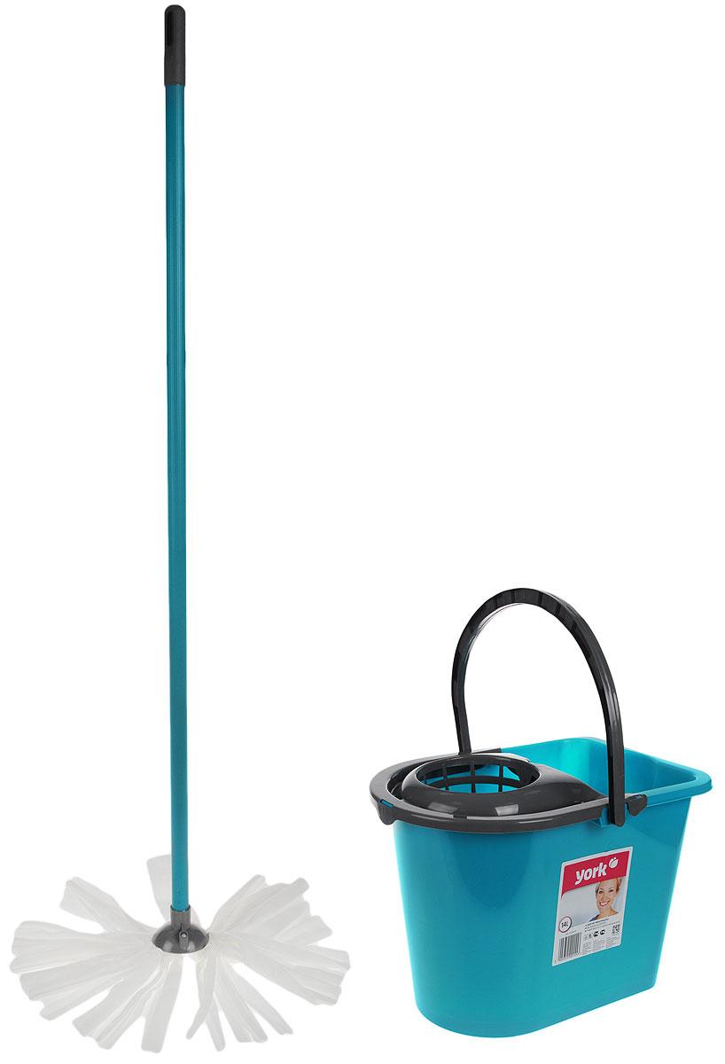 Набор для уборки York Mop Set, цвет: бирюзовый, серый, 3 предмета. 72017201_бирюзовый, серыйНабор для уборки York состоит из рукоятки для швабры, лепестковой насадки и ведра с отжимом. Рукоятка York изготовлена из металла с пластиковым покрытием по всей длине. Изделие оснащено специальным отверстием, которое позволит подвесить его на крючок. Универсальная резьба подходит ко всем швабрам и щеткам. Специальная структура микроактивного волокна лепестковой насадки убирает даже сильные, затвердевшие загрязнения, не оставляя разводов, и эффективно впитывает влагу. Благодаря специальному пластиковому ведру со встроенным отжимом уборка станет быстрой и гигиеничной, так как вы сможете выжимать швабру, не пачкая руки. Ведро оснащено пластиковой ручкой. Набор для уборки York предназначен для уборки любых типов напольных покрытий, включая паркет и ламинат. Такой набор сделает уборку легкой и обеспечит идеальную чистоту вашего пола без разводов и царапин. Размер ведра: 36 х 25 х 26 см. Объем ведра: 14 л. Длина...