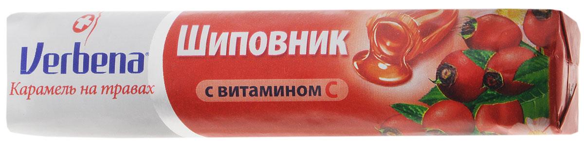 Verbena Шиповник карамель на травах, 32 г0120710Verbena Шиповник - карамель с начинкой из натуральных экстрактов лечебных растений. Продукт имеет повышенное содержание витамина С (200 мг на 100 г). Всего 6 леденцов Verbena обеспечит более половины суточной потребности в этом витамине.