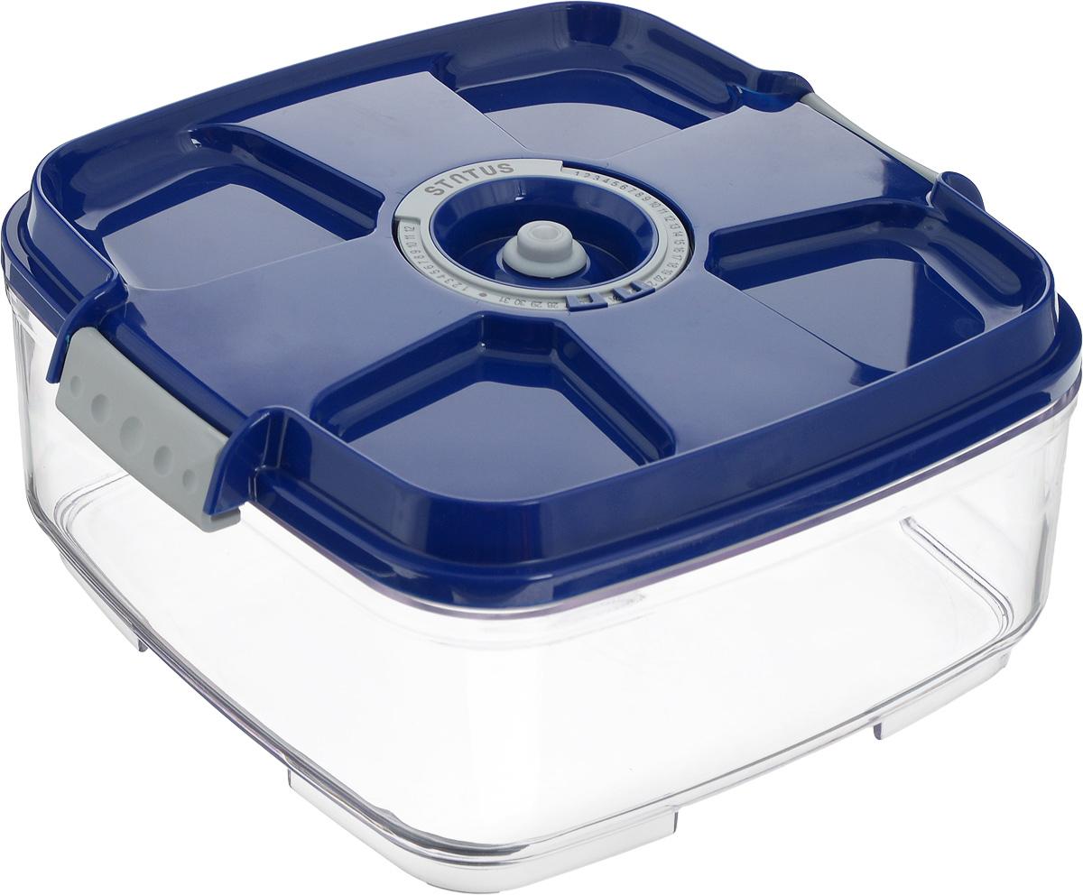 Контейнер вакуумный Status, с индикатором даты срока хранения, цвет: прозрачный, синий, 2 л. VAC-SQ-20VT-1520(SR)Вакуумный контейнер Status выполнен из хрустально-прозрачного прочного тритана. Благодаря вакууму, продукты не подвергаются внешнему воздействию, и срок хранения значительно увеличивается, сохраняют свои вкусовые качества и аромат, а запахи в холодильнике не перемешиваются. Допускается замораживание до -21°C, мойка контейнера в посудомоечной машине, разогрев в СВЧ (без крышки). Рекомендовано хранение следующих продуктов: макаронные изделия, крупа, мука, кофе в зёрнах, сухофрукты, супы, соусы. Контейнер имеет индикатор даты, который позволяет отмечать дату конца срока годности продуктов.Размер контейнера (с учетом крышки): 22 х 22 х 11 см.