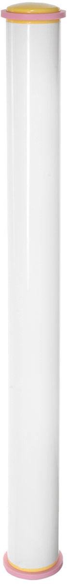 Скалка Tescoma Delicia, с регулируемой высотой, 50 смCM000001328Скалка с регулируемой высотой теста Tescoma Delicia отлично подходит для выкатывания марципана или помадки идеально ровного слоя, толщиной 3 или 5 мм. Может быть использована в качестве традиционной скалки (после удаления распорных колец). Изготовлена из превосходной прочной пластмассы и силикона. Можно мыть в посудомоечной машине.Длина скалки: 50 см.Диаметр скалки: 4 см.