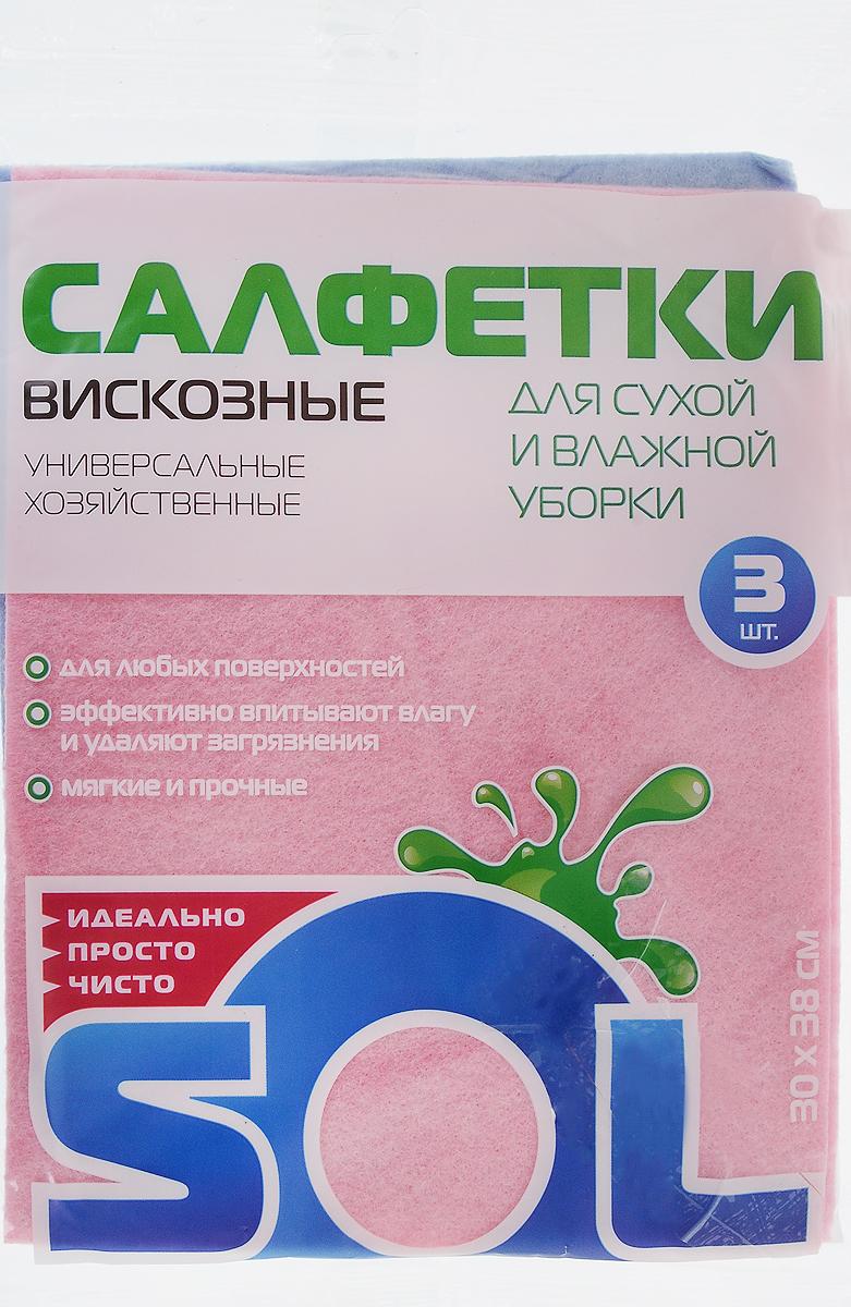 Салфетка для уборки Sol из вискозы, универсальная, цвет: розовый, голубой, 30 x 38 см, 3 штU110DFСалфетки для уборки Sol, выполненные из вискозы, предназначены для уборки и могут применяться с различными моющими средствами. Эффективно впитывают жидкость. Мягкие и прочные, легко отжимаются и быстро сохнут.Рекомендации по уходу: Для обеспечения гигиеничности уборки после применения прополоскать в теплой воде.Для продления срока службы не применять машинную стирку, не гладить и не кипятить.