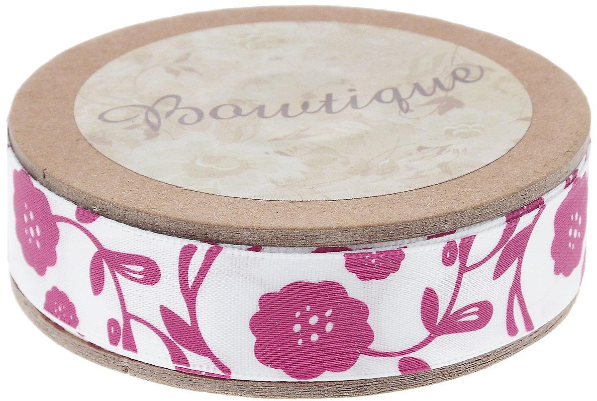 Лента атласная Hemline Флора, цвет: белый, розовый, 1,5 х 500 смKOC_GIR288LEDBALL_RЛента на картонной катушке Hemline Флора выполнена из полиэстера. Такая лента идеально подойдет для оформления различных творческих работ, может использоваться для скрапбукинга, создания аппликаций, декора коробок и открыток, часто ее применяют при пошиве одежды, сумок, аксессуаров. Лента наивысшего качества практична в использовании. Она станет незаменимым элементом в создании вашего рукотворного шедевра.