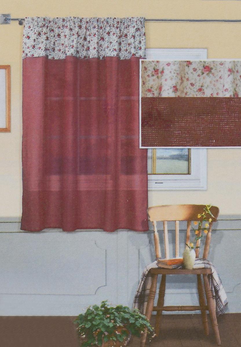 Штора Kauffort Номад, на тесьме, цвет: бордовый, 145 х 165 смUN111023670_бордовыйШтора Kauffort Номад выполнена из качественного полиэстера. Верхняя часть шторы выполнена из плотного материала молочного цвета с цветочным рисунком. Нижняя часть - из полупрозрачной сетчатой ткани бордового оттенка. Качественный материал, оригинальный дизайн и приятная цветовая гамма привлекут к себе внимание и органично впишутся в интерьер помещения. Изделие оснащено шторной лентой для красивой сборки. Штора Kauffort Номад великолепно украсит любое окно.