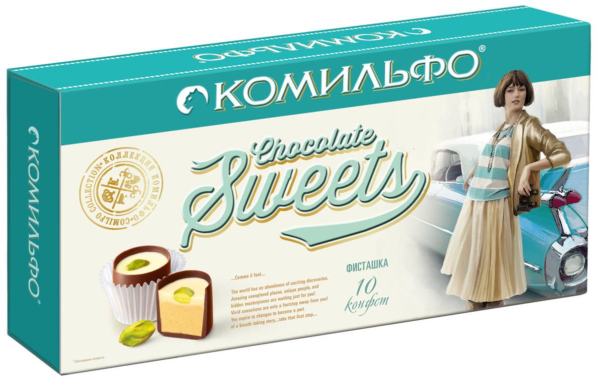 Комильфо шоколадные конфеты фисташка, 116 г12287016Восхитительная фисташковая начинка словно теплый весенний ветер, уносящий на самую вершину, где вас ожидает цельный фисташковый орешек. Каждая конфета Комильфо - это неповторимое сочетание нежной текстуры, нескольких восхитительных начинок в обрамлении превосходного шоколада и акцента в виде изысканного украшения. Уникальные конфеты словно изготовлены вручную и упакованы в премиальную, женственную, подарочную коробку. Отличный повод поделиться с близкими и побаловать себя. Уважаемые клиенты! Обращаем ваше внимание, что полный перечень состава продукта представлен на дополнительном изображении.