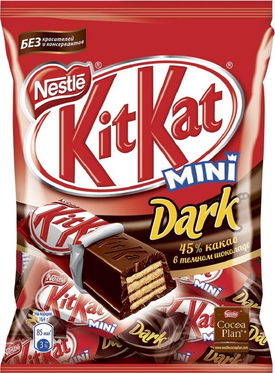 KitKat Mini темный шоколад с хрустящей вафлей, 185 г12304346Мини формат батончика KitKat с хрустящей вафлей в темном шоколаде. Удобный формат к чаю, чтобы взять с собой в дорогу. Шоколад в умеренном количестве может быть частью сбалансированного рациона. Уважаемые клиенты! Обращаем ваше внимание, что полный перечень состава продукта представлен на дополнительном изображении.