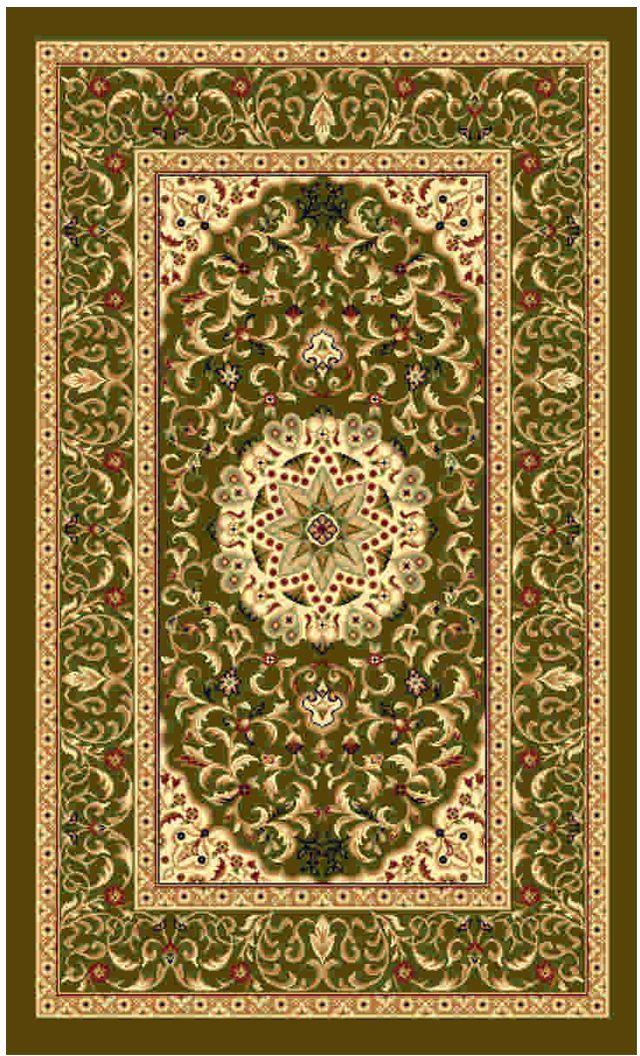 Ковер Kamalak tekstil, прямоугольный, цвет: зеленый, 60 x 110 см. УК-0388UP210DFКовры-паласы выполнены из полипропилена. Ковры обладают хорошими показателями теплостойкости и шумоизоляции. Являются гиппоалергенными. За счет невысокого ворса ковры легко чистить. Вам придется по душе широкая гамма цветов и возможность гармонично оформить интерьер. Практичный и устойчивый к износу ворс - от постоянного хождения не истирается, не накапливает статическое электричество. Структура волокна в полипропиленовых моделях гладкая, поэтому грязь не может выесться, на ворсе она скапливается с трудом. Полипропилен не впитывает влагу, отталкивает водянистые пятна. Уход: Самый простой способ избавить изделие от грязи – пропылесосить его с обеих сторон (лицевой и изнаночной).Влажная уборка с применением шампуней и моющих средств не противопоказана. Если шерсти и шёлку универсальные чистящие составы не подходят, то для синтетики они придутся в самый раз.Хранить их нужно рулоном, не складывая «салфеткой».При надлежащем уходе синтетический ковёр прослужит долго, не утратив ни яркости узора, ни блеска ворса, ни его упругости.