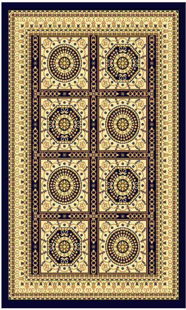 Ковер Kamalak tekstil, прямоугольный, цвет: синий, 100 x 150 см. УК-002344032.1Ковры-паласы выполнены из полипропилена. Ковры обладают хорошими показателями теплостойкости и шумоизоляции. Являются гиппоалергенными. За счет невысокого ворса ковры легко чистить. Вам придется по душе широкая гамма цветов и возможность гармонично оформить интерьер. Практичный и устойчивый к износу ворс - от постоянного хождения не истирается, не накапливает статическое электричество. Структура волокна в полипропиленовых моделях гладкая, поэтому грязь не может выесться, на ворсе она скапливается с трудом. Полипропилен не впитывает влагу, отталкивает водянистые пятна. Уход: Самый простой способ избавить изделие от грязи – пропылесосить его с обеих сторон (лицевой и изнаночной).Влажная уборка с применением шампуней и моющих средств не противопоказана. Если шерсти и шёлку универсальные чистящие составы не подходят, то для синтетики они придутся в самый раз.Хранить их нужно рулоном, не складывая «салфеткой».При надлежащем уходе синтетический ковёр прослужит долго, не утратив ни яркости узора, ни блеска ворса, ни его упругости.