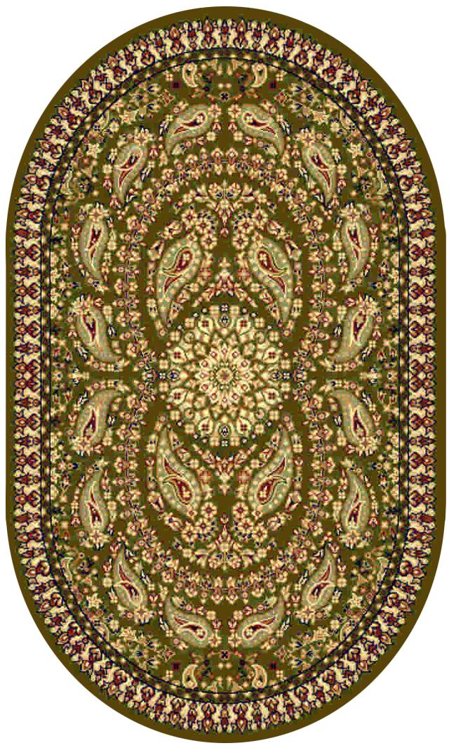 Ковер Kamalak tekstil, овальный, цвет: зеленый, 60 x 110 см. УК-018444037.1Ковры-паласы выполнены из полипропилена. Ковры обладают хорошими показателями теплостойкости и шумоизоляции. Являются гиппоалергенными. За счет невысокого ворса ковры легко чистить. Вам придется по душе широкая гамма цветов и возможность гармонично оформить интерьер. Практичный и устойчивый к износу ворс - от постоянного хождения не истирается, не накапливает статическое электричество. Структура волокна в полипропиленовых моделях гладкая, поэтому грязь не может выесться, на ворсе она скапливается с трудом. Полипропилен не впитывает влагу, отталкивает водянистые пятна. Уход: Самый простой способ избавить изделие от грязи – пропылесосить его с обеих сторон (лицевой и изнаночной).Влажная уборка с применением шампуней и моющих средств не противопоказана. Если шерсти и шёлку универсальные чистящие составы не подходят, то для синтетики они придутся в самый раз.Хранить их нужно рулоном, не складывая «салфеткой».При надлежащем уходе синтетический ковёр прослужит долго, не утратив ни яркости узора, ни блеска ворса, ни его упругости.
