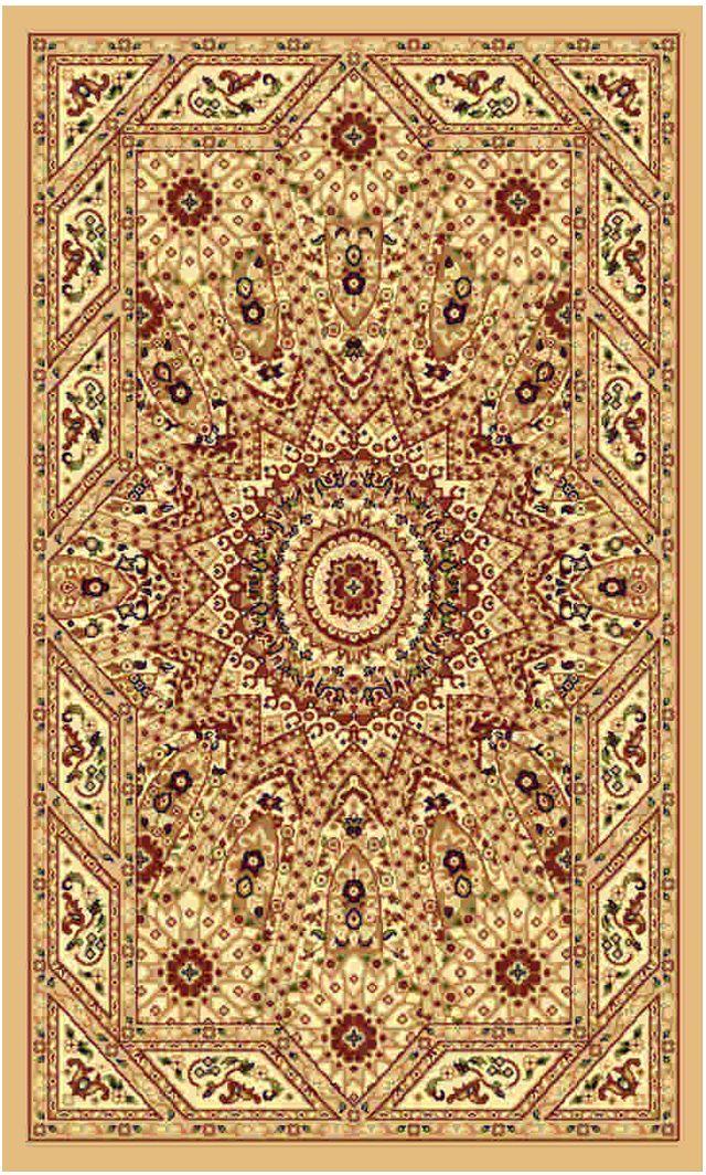 Ковер Kamalak tekstil, прямоугольный, цвет: бежевый, 60 x 110 см. УК-0234UP210DFКовры-паласы выполнены из полипропилена. Ковры обладают хорошими показателями теплостойкости и шумоизоляции. Являются гиппоалергенными. За счет невысокого ворса ковры легко чистить. Вам придется по душе широкая гамма цветов и возможность гармонично оформить интерьер. Практичный и устойчивый к износу ворс - от постоянного хождения не истирается, не накапливает статическое электричество. Структура волокна в полипропиленовых моделях гладкая, поэтому грязь не может выесться, на ворсе она скапливается с трудом. Полипропилен не впитывает влагу, отталкивает водянистые пятна. Уход: Самый простой способ избавить изделие от грязи – пропылесосить его с обеих сторон (лицевой и изнаночной).Влажная уборка с применением шампуней и моющих средств не противопоказана. Если шерсти и шёлку универсальные чистящие составы не подходят, то для синтетики они придутся в самый раз.Хранить их нужно рулоном, не складывая «салфеткой».При надлежащем уходе синтетический ковёр прослужит долго, не утратив ни яркости узора, ни блеска ворса, ни его упругости.