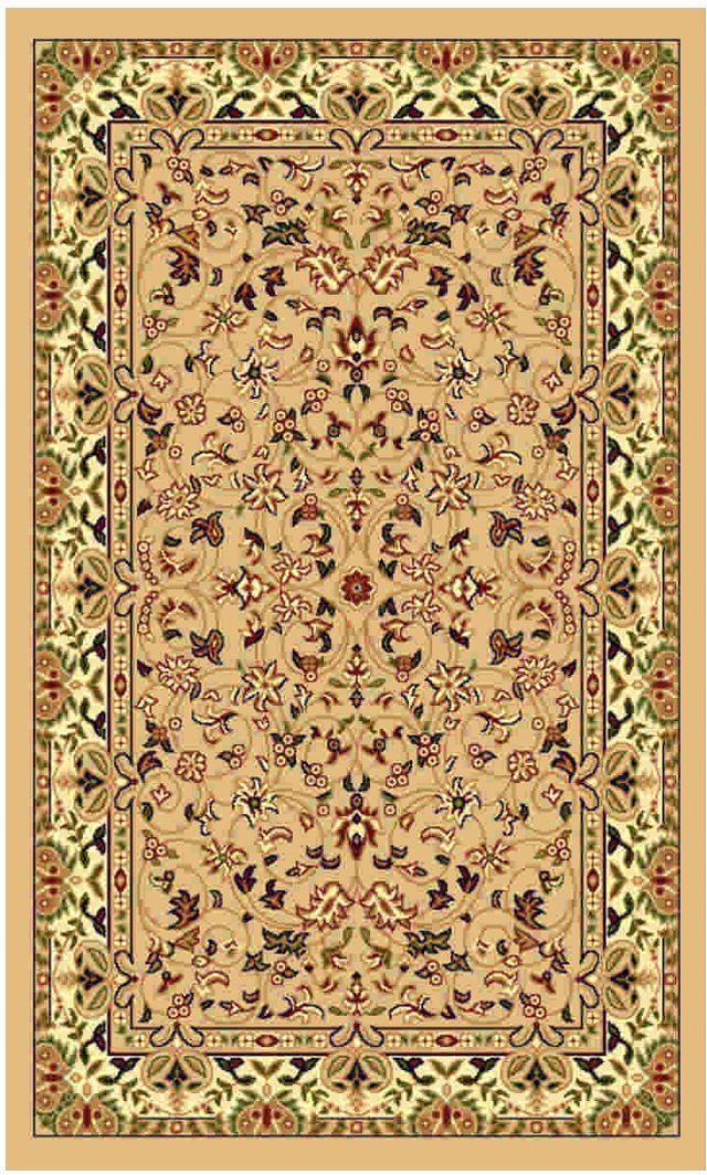 Ковер Kamalak tekstil, прямоугольный, цвет: бежевый, 60 x 110 см. УК-015920103Ковры-паласы выполнены из полипропилена. Ковры обладают хорошими показателями теплостойкости и шумоизоляции. Являются гиппоалергенными. За счет невысокого ворса ковры легко чистить. Вам придется по душе широкая гамма цветов и возможность гармонично оформить интерьер. Практичный и устойчивый к износу ворс - от постоянного хождения не истирается, не накапливает статическое электричество. Структура волокна в полипропиленовых моделях гладкая, поэтому грязь не может выесться, на ворсе она скапливается с трудом. Полипропилен не впитывает влагу, отталкивает водянистые пятна. Уход: Самый простой способ избавить изделие от грязи – пропылесосить его с обеих сторон (лицевой и изнаночной).Влажная уборка с применением шампуней и моющих средств не противопоказана. Если шерсти и шёлку универсальные чистящие составы не подходят, то для синтетики они придутся в самый раз.Хранить их нужно рулоном, не складывая «салфеткой».При надлежащем уходе синтетический ковёр прослужит долго, не утратив ни яркости узора, ни блеска ворса, ни его упругости.