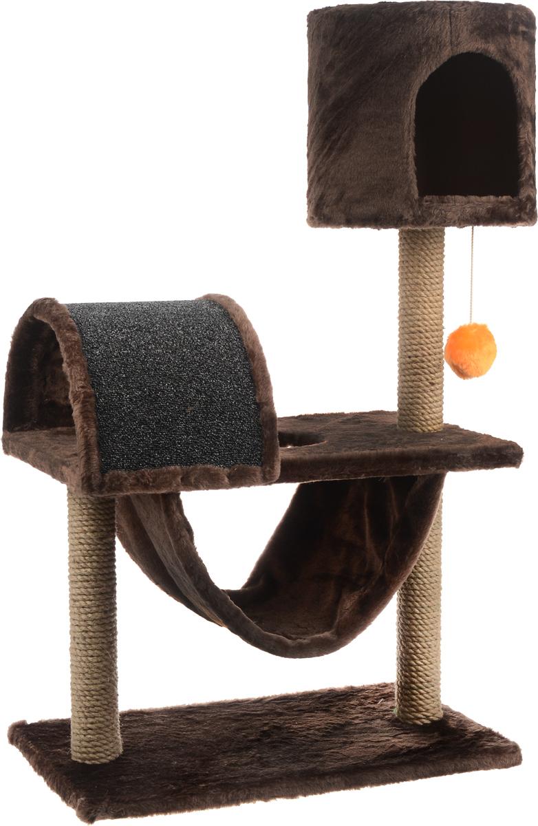 """Игровой комплекс для кошек ЗооМарк """"Кузя"""", цвет: коричневый, серый, оранжевый, 69 х 37 х 102 см 142_коричневый, серый"""