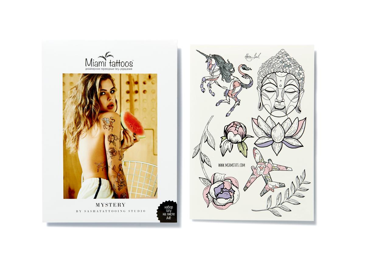 Miami Tattoos Переводные тату Mystery by Nora Ink, 1 лист, 29,7 см х 21 см507-90Нора Инк - одна из татуировщиц известной тату-студии Sasha Tattooing Studio. Ее стиль - не только женственные и изящные цветы(особенно пионы), но и мистические фигуры. Начав рисовать набор для Miami Tattoos, она не смогла остановиться на одном эскизе, анарисовала сет из трех листов, которые сразу же стали бестселлерами.
