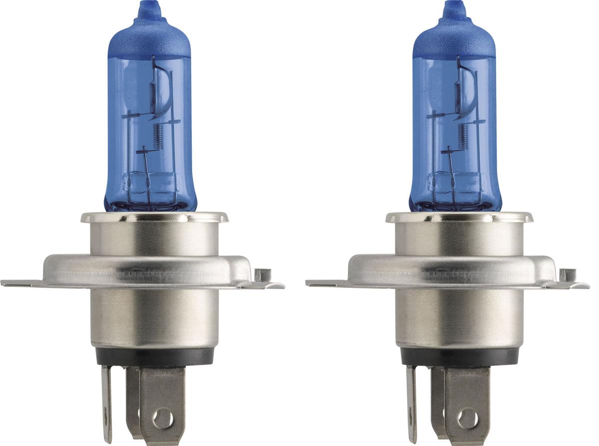 Лампа автомобильная галогенная Philips DiamondVision, для фар, цоколь H4 (P43t), 12V, 60/55W, 2 шт12342DVS2Автомобильная галогенная лампа Philips DiamondVision произведена из запатентованного кварцевого стекла с УФ фильтром Philips Quartz Glass. Кварцевое стекло Philips в отличие от обычного твердого стекла выдерживает гораздо большее давление смеси газов внутри колбы, что препятствует быстрому испарению вольфрама с нити накаливания. Кварцевое стекло выдерживает большой перепад температур, при попадании влаги на работающую лампу изделие не взрывается и продолжает работать. Лампа DiamondVision с чистым белым светом, цветовой температурой 5000 K и стильным эффектом холодного белого ксенонового света идеально подходит для водителей, которые хотят придать индивидуальный стиль своему автомобилю. Автомобильные галогенные лампы Philips удовлетворят все нужды автомобилистов: дальний свет, ближний свет, передние противотуманные фары, передние и боковые указатели поворота, задние указатели поворота, стоп-сигналы, фонари заднего хода, задние противотуманные фонари, освещение...