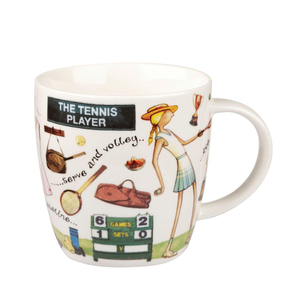 Кружка Churchill Теннисист, 400 млYOUR00211Кружка Churchill Теннисист изготовлена из высококачественного костяного фарфора. Внешние стенки дополнены оригинальным принтом. Такая кружка отлично подойдет для горячих и холодных напитков. С ней ваши любимые напитки будут еще вкусней. Коллекция На досуге призывает наслаждаться любимыми делами, например, заняться спортом. Коллекция отличается причудливыми веселыми рисунками и оригинальной подарочной упаковкой. Можно мыть в посудомоечной машине. Можно использовать в микроволновой печи.