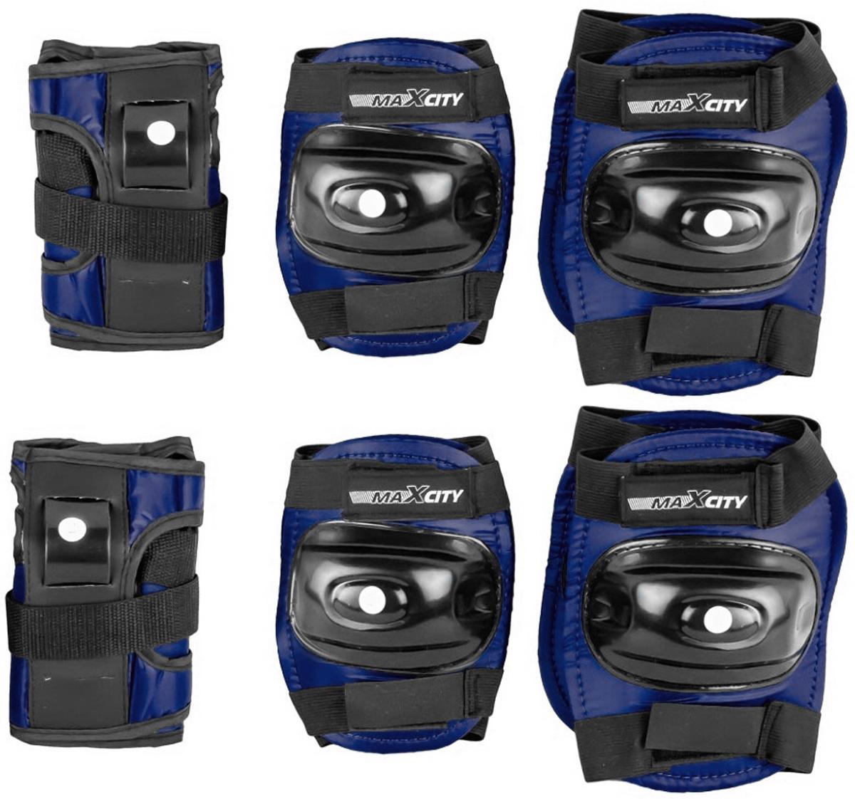 Защита роликовая MaxCity Standard, цвет: синий, черный. Размер S2770960253515Защита роликовая MaxCity Standard как нельзя лучше подойдет вашему ребенку. Защита предназначена для комфортного и безопасного катания на роликовых коньках. Состоит из налокотников, наколенников и защиты запястий. Каждый из этих элементов выполнен из качественных материалов, жестких снаружи и эластичных внутри. Двухкомпонентная система с внутренними вставками из этилвинилацетата поглощает энергию удара, снимает нагрузку с суставов и, таким образом, снижает риск получения травмы. Отличная подгонка достигается за счет анатомической формы и использования эластичных материалов. Защита комфортна при ношении, так как материал принимает форму руки или ноги. Размер наколенников: 14,5 х 11,5 х 2,5 см. Размер налокотников: 13 х 11 х 2 см. Размер защиты запястья: 13,5 х 7,5 х 5 см.