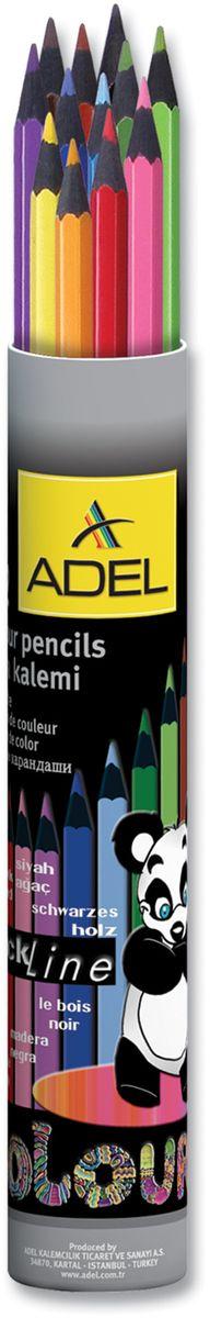 Adel Набор цветных карандашей Blackline PBT 12 цветов72523WDНабор цветных карандашей Adel Blackline PBT - великолепный инструмент для творческой самореализации ребенка. Широкая цветовая палитра создает наилучшие условия для воплощения фантазии и вдохновения вашего маленького художника.Особая треугольная форма со скругленными гранями обеспечивает комфортное и уверенное использование и снижает усталость пальцев во время длительного занятия рисованием.Оправа из специального черного дерева облегчает затачивание карандаша, а качественный грифель диаметром 3 мм позволяет выбирать оптимальный уровень заточки в соответствии со своими потребностями и художественным стилем.Компактный алюминиевый тубус с плотно закрывающейся крышкой гарантирует удобство и аккуратность при хранении и транспортировке.