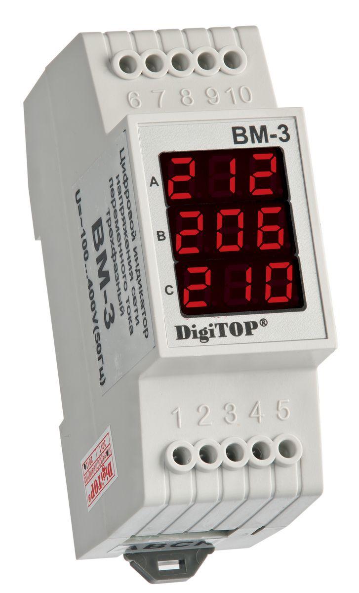 Вольтметр DigiTOP Вм-3 Red00000000039Предназначен для измерения действующего значения напряжения переменного тока частотой 50(±1)Гц в трехфазной сети.