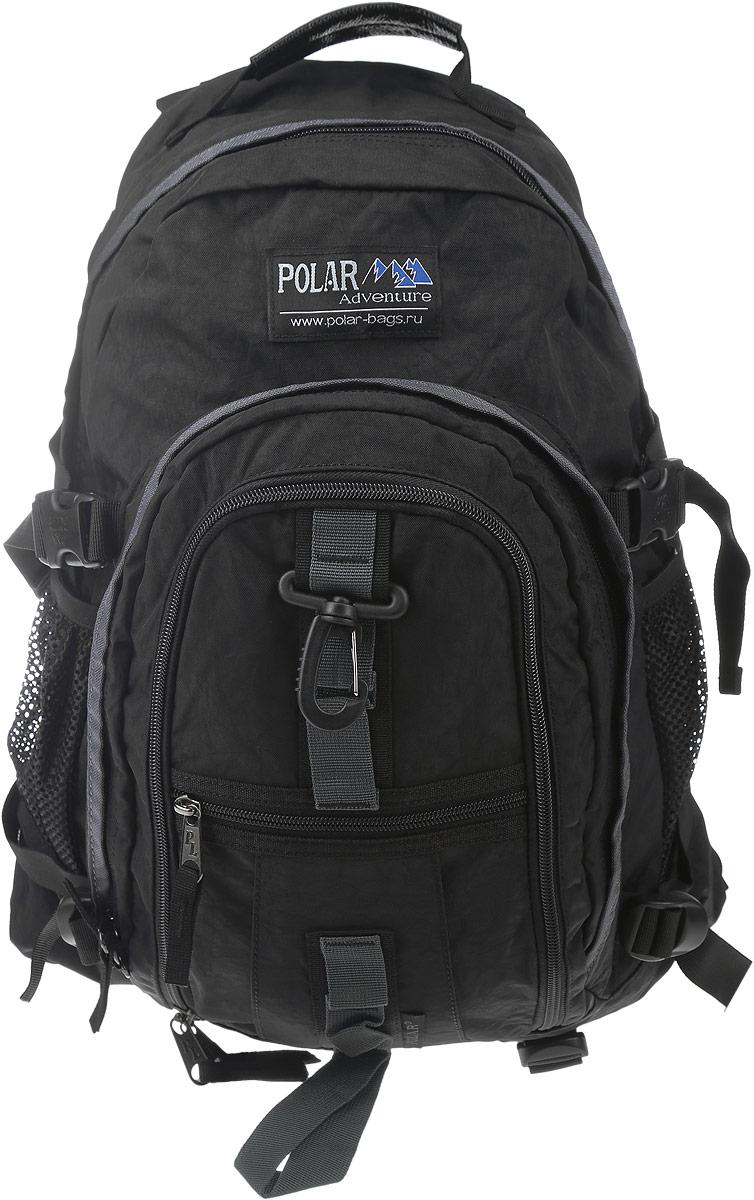 Рюкзак городской Polar, 27 л, цвет: черный. П1955-05RK487-06Городской рюкзак с модным дизайном. Полностью вентилируемая и удобная мягкая спинка, мягкие плечевые лямки создают дополнительный комфорт при ношении. Центральный отсек для персональных вещей и документов A4 на двухсторонних молниях для удобства. Маленький карман для mp3, CD плеера. Два боковых кармана под бутылки с водой на резинке. Регулирующая грудная стяжка с удобным фиксатором. Регулирующий поясной ремень, удерживает плотно рюкзак на спине, что очень удобно при езде на велосипеде или продолжительных походах. Система циркуляции воздуха Air. Материал Polyester.