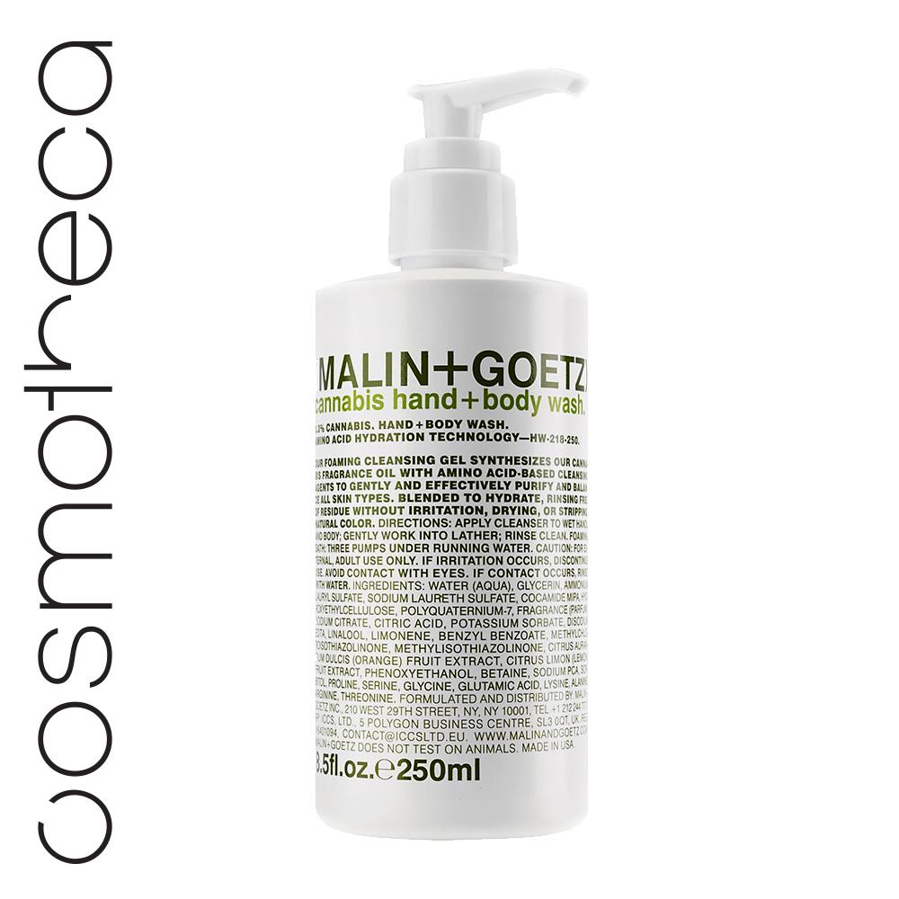 Malin+Goetz Гель-мыло для душа и рук Каннабис 250 млMG151Увлажняющая формула на основе аминокислот. Мягкий гель для мытья рук и тела бережно очищает кожу, оставляя тонкий аромат. Глицерин и комплекс аминокислот увлажняют и питают кожу.