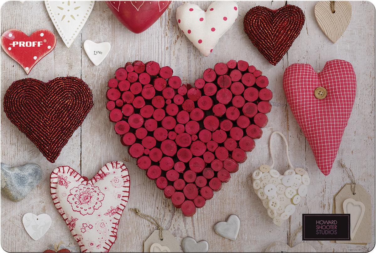 Proff Накладка на стол Hearts 43 х 29 см72523WDНакладка на стол Proff Hearts представляет собой настольное покрытие прямоугольной формы с закругленными уголками. Накладка выполнена из высокоустойчивого пластика.Такая накладка послужит не только украшением стола, но и защитит его от различных загрязнений при детском творчестве. Нежный рисунок, декорированный изображениями сердечек, обязательно понравится вашему ребенку.