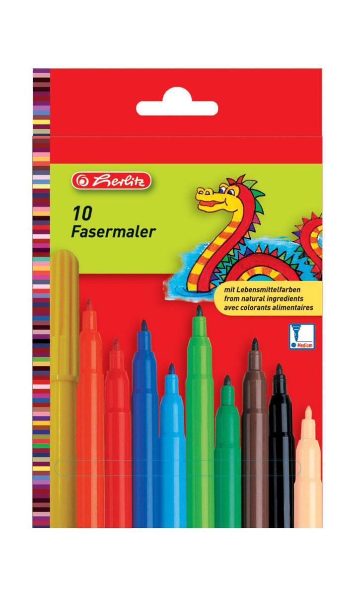 Herlitz Набор фломастеров Fasermaler 10 цветов8649139Набор фломастеров Herlitz Fasermaler - это 10 цветных фломастеров, которые оснащены вентилируемым колпачком, а корпус изготовлен из прочного пластика. Фломастеры устойчивы к вдавливанию и имеют цилиндрический пишущий узел. Когда ваш юный художник будет рисовать, то можете не беспокоиться, чернила этих фломастеров совершенно безопасны для здоровья вашего малыша. Набор фломастеров от Herlitz обязательно порадует не только вашего малыша, но и вас. Рекомендуемый возраст от трех лет.