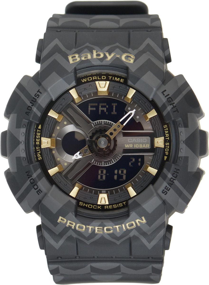 Часы наручные женские Casio G-Shock, цвет: черный, серый. BA-110TP-1ABA-110TP-1AСтильные функциональные часы Baby-G сочетают в себе ультрамодные цвета с приглушенным матовым покрытием, декорированным треугольным этническим узором. Золотистые металлические детали, используемые для меток и часовых элементов, выступают привлекательными акцентами. Часы будут пользоваться популярностью среди девушек, ведущих активный образ жизни. Ударопрочная конструкция защищает механизм от ударов и вибрации. Корпус выполнен из высококачественного пластика и оснащен минеральным стеклом, устойчивым к возникновению царапин. Резиновый ремешок имеет надежную классическую застежку. Изделие оснащено кварцевым механизмом с двойной цифро-аналоговой индикацией при помощи многофункциональных стрелок и на жидкокристаллическом дисплее и имеет степень водозащиты равную 100WR, что отлично подходит для плавания и ныряния. Циферблат подсвечивается светодиодом, а умная функция задержки отключения освещает циферблат еще несколько секунд после отпускания кнопки освещения. Помимо...