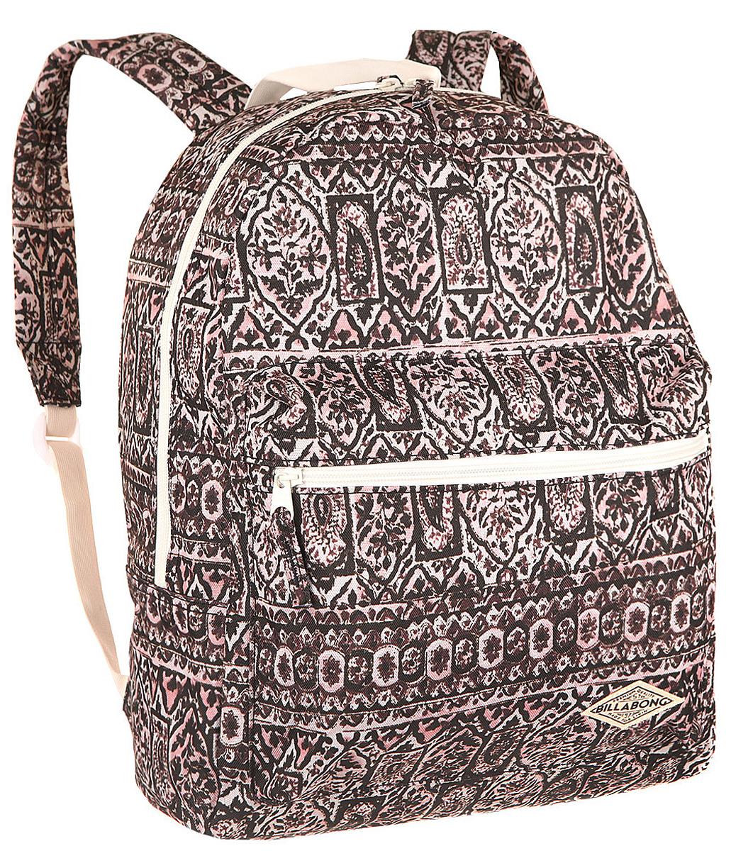 Рюкзак городской Billabong Breezy Shorez, цвет: темно-вишневый , 18 лH009Стильный рюкзак Billabong с абстрактным принтом составит Вам отличную компанию для перемещений по городу. Внутри рюкзака есть такое актуальное в наши дни отделение для ноутбука или планшета, а снаружи предусмотрен небольшой карман на молнии для мелочей