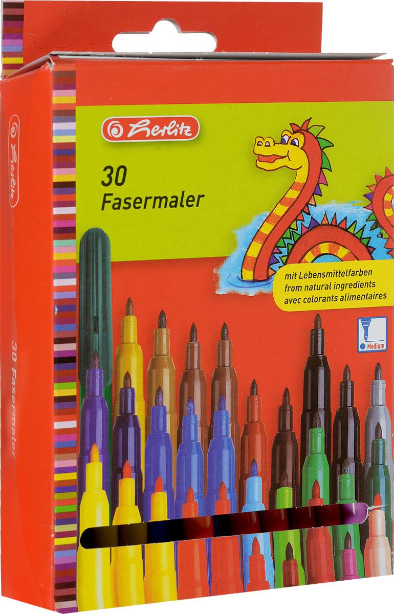 Herlitz Набор фломастеров Fasermaler 30 цветов8649311Набор фломастеров Herlitz Fasermaler - это 30 фломастеров из самых различных цветов. Фломастеры оснащены вентилируемым колпачком, а корпус изготовлен из прочного пластика. Фломастеры устойчивы к вдавливанию и имеют цилиндрический пишущий узел. Когда ваш юный художник будет рисовать, то можете не беспокоиться, чернила этих фломастеров совершенно безопасны для здоровья вашего малыша. Набор фломастеров от Herlitz обязательно порадует не только вашего малыша, но и вас. Рекомендуемый возраст от трех лет.