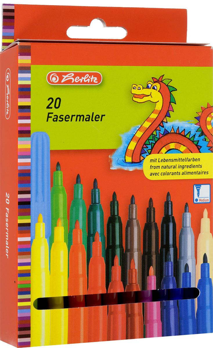 Herlitz Набор фломастеров Fasermaler 20 цветов610842Набор фломастеров Herlitz Fasermaler - это 20 цветных фломастеров, которые оснащены вентилируемым колпачком, а корпус изготовлен из прочного пластика.Фломастеры устойчивы к вдавливанию и имеют цилиндрический пишущий узел.Когда ваш юный художник будет рисовать, то можете не беспокоиться, чернила этих фломастеров совершенно безопасны для здоровья вашего малыша. Набор фломастеров от Herlitz обязательно порадует не только вашего малыша, но и вас.Рекомендуемый возраст от трех лет.