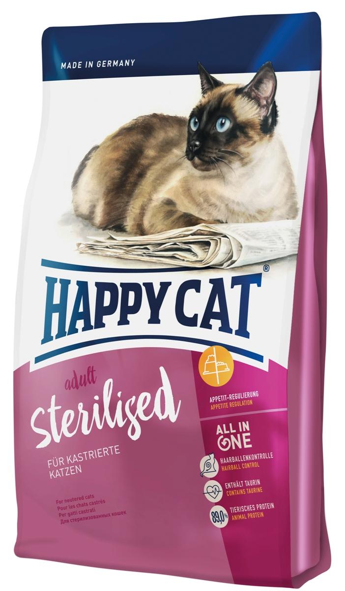 Корм сухой Happy Cat Adult Sterilised, для кастрированных и стерилизованных кошек, 4 кг0120710Happy Cat Adult Sterilised - это полнорациональный корм для кастрированных котов и стерилизованных кошек. Кастрированные кошки более склоны к ожирению, чем не кастрированные. Это является результатом перестройки обмена веществ, связанной с гормональными изменениями, так как кошки становятся более спокойными. Уменьшение активности и движений, при сохранении хорошего аппетита, приводит к нежелательному результату - ожирение, что в свою очередь увеличивает риск диабета, мочекаменной болезни и рядя других заболеваний. Для предотвращения набора излишнего веса кастрированным кошкам необходим сытный корм с большим содержанием клетчатки и средней жирности, дополненный стимулирующим к движению белком и идеально подобранным перечнем минеральных веществ, для защиты мочеполовой системы. Состав: птица (24%), кукурузная мука, мясопродукты, рисовая мука, клетчатка, кукуруза, птичий жир, лосось (4%), свекольная пульпа, яблочная пульпа (0,8%), хлорид натрия, дрожжи, хлорид калия, сухое цельное яйцо, морские водоросли (0,2%), семя льна (0,2%), Юкка Шидигера (0,04%), корень цикория (0,04%), дрожжи (экстрагированные), расторопша, артишок, одуванчик, имбирь, березовый лист, крапива, ромашка, кориандр, розмарин, шалфей, корень солодки, тимьян (общий объем сухих трав: 0,19%).Аналитический состав: сырой протеин 37%, сырой жир 10,5 %, сырая клетчатка 5,0%, сырая зола 6,5%, кальций 1,25%, фосфор 0,8%, натрий 0,45%, калий 0,65%, магний 0,08%, Омега-6 жирные кислоты 1,9%, Омега-3 жирные кислоты 0,2%.Витамин A (3а672а) 18000 МE, витамин D3 1800 МЕ, витамин E (альфа-токоферол 3a700) 100 мг, витамин B1 (тиаминмононитрат 3a821) 5 мг, витамин B2 (рибофлавин) 6 мг, витамин B6 (пиридоксингидрохлорид 3a831) 4 мг, D(+) биотин (3a880) 700 мкг, кальция-D-пантотенат 12 мг, ниацин 45 мг, витамин B12 75 мкг, холинхлорид 75 мг. Антиоксиданты: натуральные экстракты с высоким содержанием токоферола. Микроэлементы/кг: 