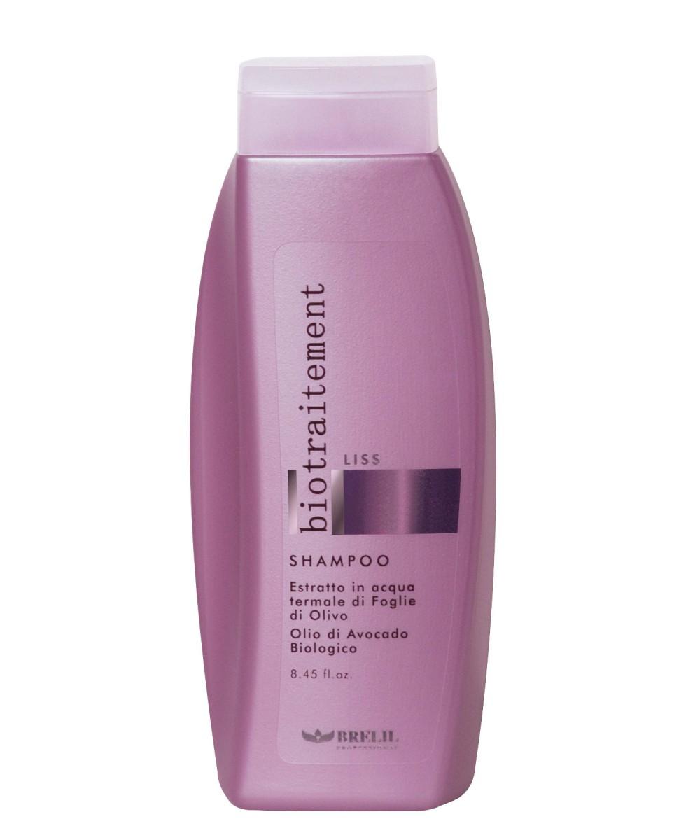 Brelil Разглаживающий шампунь Bio Traitement Liss Shampoo, 250 млFS-00103Особый состав шампуня Brelil Bio Traitement Liss Shampoo придает волосам мягкость и шелковистость и активно восстанавливает структуру. В формулу продукта входит экстракт листьев оливы и масло авокадо — мощные природные увлажнители, помогающие вернуть волосам необходимую мягкость, гладкость, послушность, делающие волокно волос шелковистым и блестящим и поддерживающие достигнутый эффект при регулярном применении.
