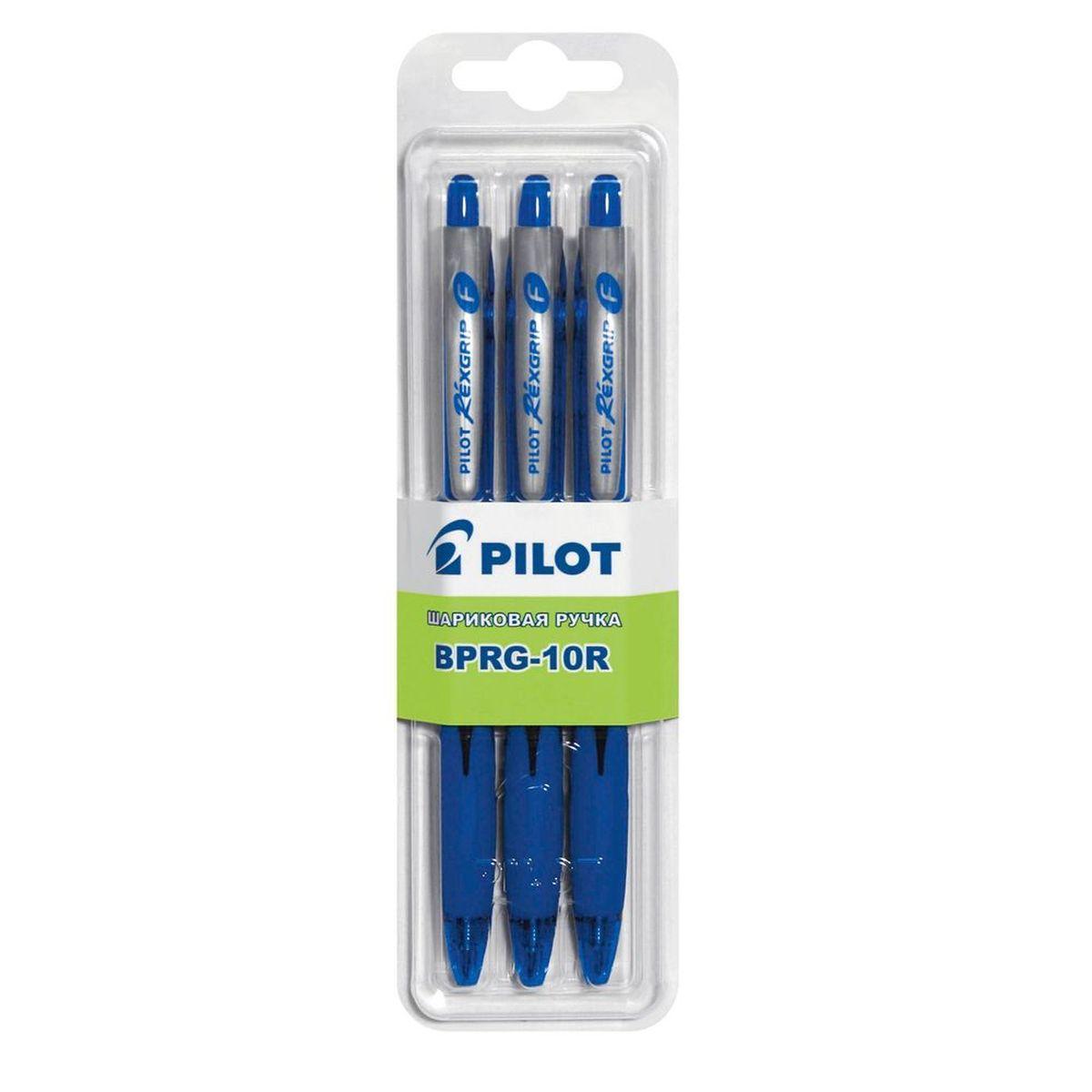 Pilot Набор шариковых ручек BPRG-10R цвет синий 3 штB-BPRG-10-3LНабор шариковых ручек Pilot BPRG-10R - незаменимый предмет на любом рабочем столе. Корпус ручек выполнен из прочного прозрачного пластика. Автоматическая шариковая ручка имеет резиновый упор для пальцев, что обеспечивает комфорт и удобство при письме, так как позволяет пальцам принять естественное положение. Стержень имеет шарик из карбида вольфрама диаметром 0,7 мм, толщина линии - 0,32 мм. Такая ручка обеспечит четкий цвет и мягкое письмо. В наборе 3 ручки.