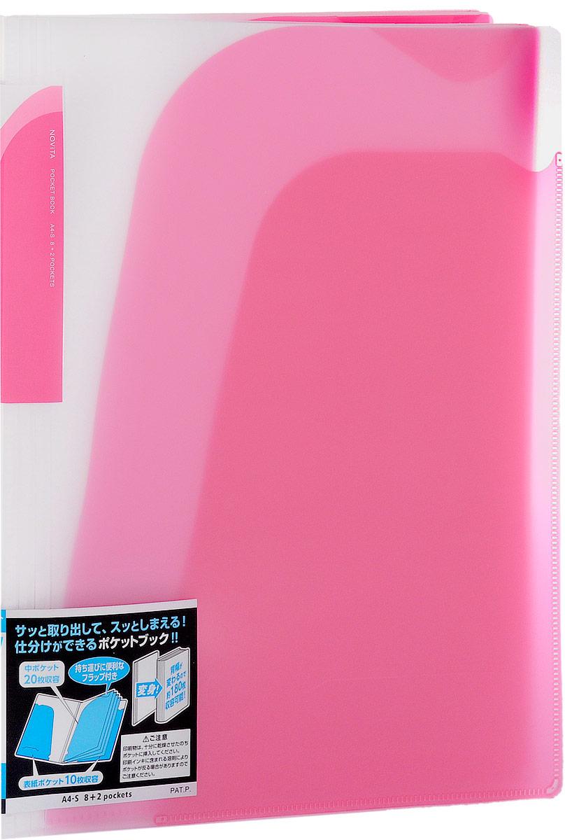 Kokuyo Папка-уголок Novita на 180 листов цвет розовый990516Папка-уголок Kokuyo Novita предназначена для хранения документов и тетрадей. Она подойдет как для офисного работника, так и для студента или школьника. По форме это обычная папка-уголок формата А4, но ее преимущество заключается в том, что она имеет 8 дополнительных отделений, в каждое из которых помещается около 20 листов. На внутренней стороне обложки в начале и конце расположены небольшие карманы для мелких бумаг. Общая вместимость составляет около 180 листов самых различных документов. Папка изготовлена из качественного пластика. При транспортировке или хранении ваши документы всегда будут находиться в целости и сохранности.