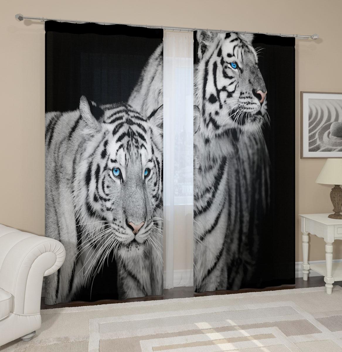 Комплект фотоштор Сирень Два тигра, на ленте, высота 260 см03221-ФШ-ГБ-001Фотошторы Сирень Два тигра, выполненные из габардина (100% полиэстера), отлично дополнят украшение любого интерьера. Особенностью ткани габардин является небольшая плотность, из-за чего ткань хорошо пропускает воздух и солнечный свет. Ткань хорошо держит форму, не требует специального ухода. Крепление на карниз при помощи шторной ленты на крючки. В комплекте 2 шторы. Ширина одного полотна: 145 см. Высота штор: 260 см. Рекомендации по уходу: стирка при 30 градусах, гладить при температуре до 110 градусов. Изображение на мониторе может немного отличаться от реального.