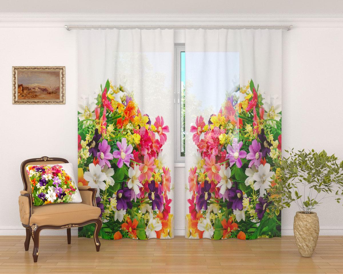 Комплект фототюлей Сирень Весенние полевые цветы, на ленте, высота 260 смS03301004Фототюль Сирень Весенние полевые цветы из легкой парящей ткани - вуали - благодаря своей прозрачности позволяет создать в комнате уютную атмосферу, отлично дополняет украшение любого окна. Ткань хорошо держит форму, не требует специального ухода. Яркая и чёткая картинка будет радовать вас каждый день.Крепление на карниз при помощи шторной ленты на крючки.В комплекте: 2 тюля.Ширина полотна: 145 см.Высота полотна: 260 см. Рекомендации по уходу: стирка при 30 градусах, гладить при температуре до 110 градусов.Изображение на мониторе может немного отличаться от реального.