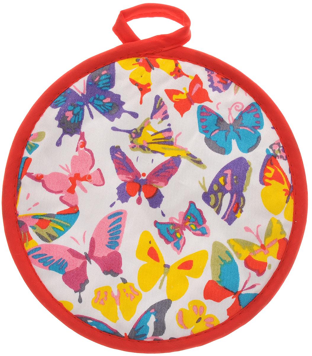 Прихватка Bonita Бабочки, диаметр 18 см1101211569Прихватка Bonita выполнена из натурального хлопка и декорирована оригинальным рисунком. Изделие оснащено специальной петелькой, за которую его можно подвесить на крючок в любом удобном для вас месте. Такая прихватка красиво дополнит интерьер кухни.
